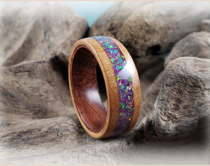 Bentwood Ring - Curly Cherry w/Royal Lavender opal inlay, on Rosewood ring core