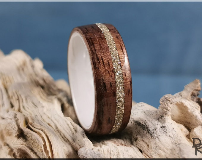 Bentwood Ring - Curly Black Walnut w/Offset Silver Glass inlay, on Polished White Ceramic ring core