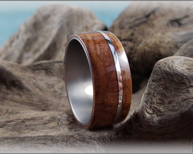 Bentwood Ring - Rare Carpathian Elm Burl w/offset .925 Sterling Silver inlay, on titanium core
