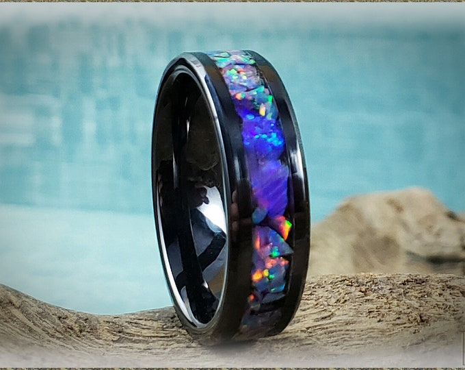6mm Black Ceramic Channel Ring w/Multi Lavender and Orchid Opal chunk inlay
