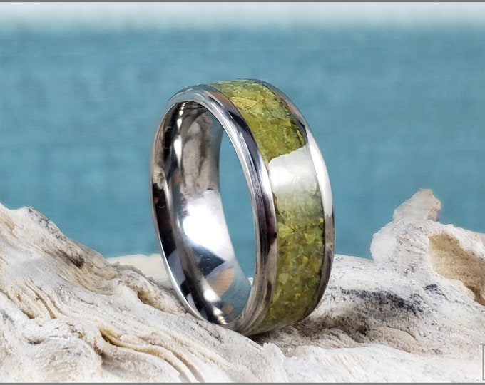 Titanium Channel Ring w/Olive Green Opal inlay
