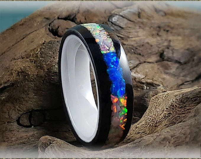 Bentwood Ring - Jet Black Tulipwood w/Sun and Ice and Pacific Blue chunk opal inlay, on polished white ceramic ring core