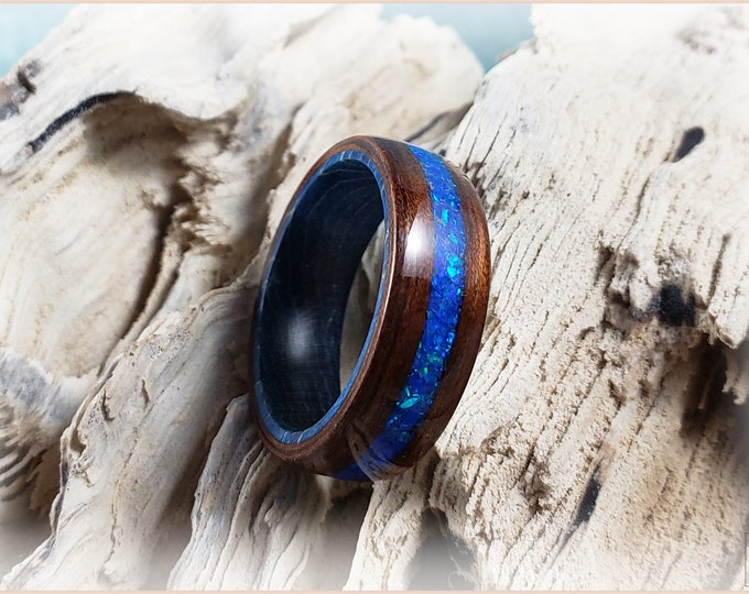 Bentwood Ring - Mangowood w/Sleepy Blue opal inlay, on Cobalt Blue Box Elder ring core