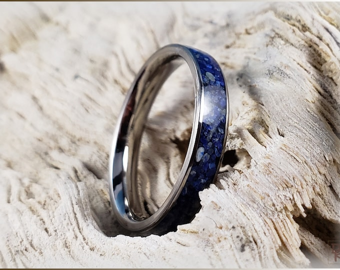 Titanium 4mm Channel Ring w/Lapis Lazuli stone inlay