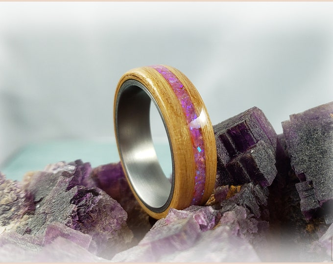 Bentwood Ring - Alder Wood w/Pink Sugar Opal inlay on titanium ring core