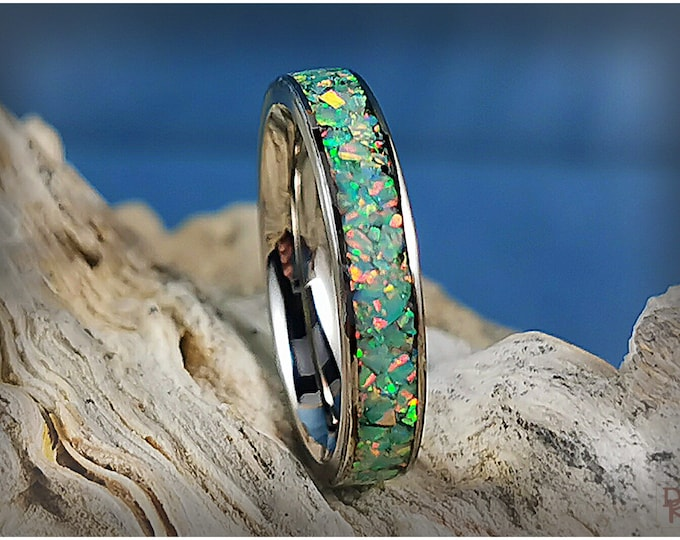 Titanium 4mm Channel Ring w/Opal inlay