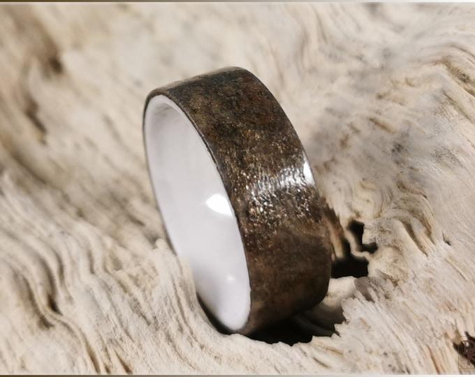 Artisan Ring - Genuine 'Autumn Sky' Slate on polished white ceramic ring core