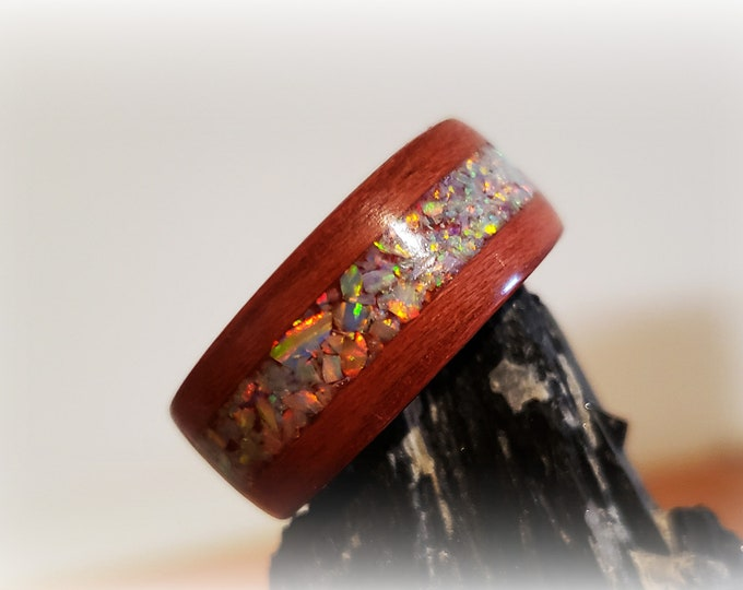 Bentwood Ring - Plum Wood w/White Fire opal inlay, titanium core.