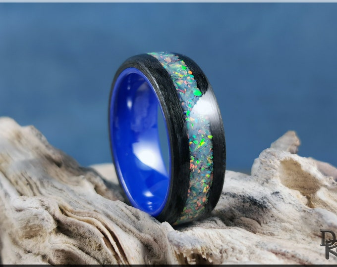 Bentwood Ring - Graphite Grey Maple w/Blue-Grey Opal inlay, on Polished Blue Ceramic ring core - Wood Ring