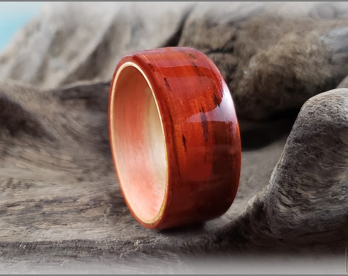 Dual Bentwood Ring - Candy Stripe Padauk on Bentwood Flame Box Elder ring core
