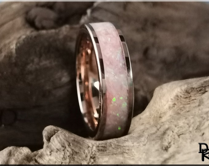 Rose Gold Plated Tungsten Carbide Channel Ring w/Aurora Opal and Pink Glow inlay