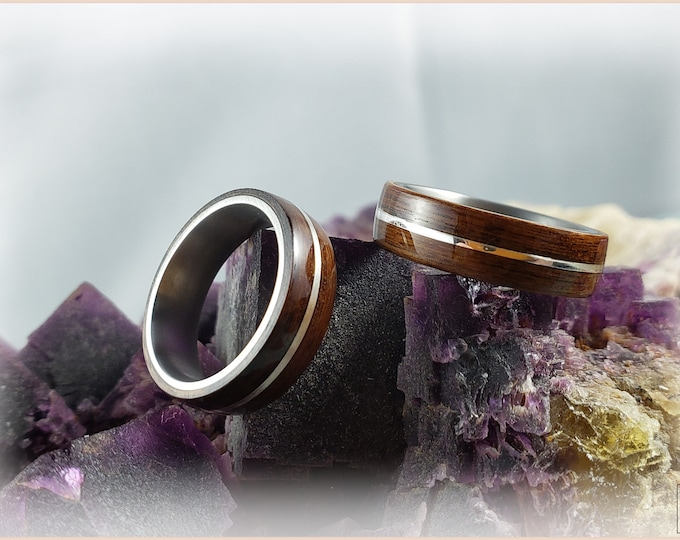 Bentwood Ring Set 'SANTOS SILVER PROMESA' - Santos Rosewood w/.925 Sterling Silver inlays on titanium ring cores