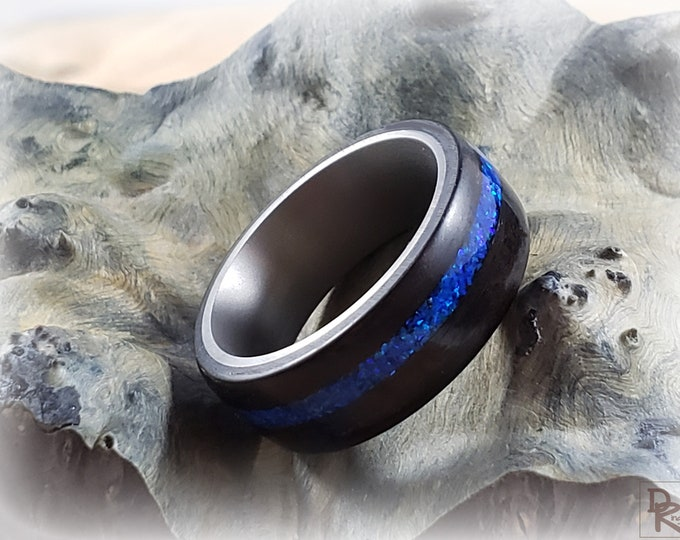 Bentwood Ring - Smoked Eucalyptus w/offset Sleepy Blue opal inlay, titanium ring core.