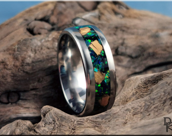 Titanium 8mm Channel Ring w/Mammoth Tusk and Black Emerald Opal inlay