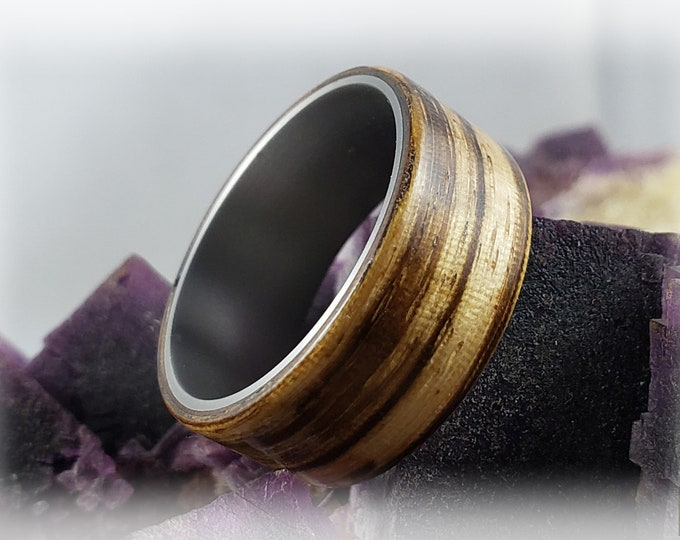 Bentwood Ring - Zebrano on titanium ring core