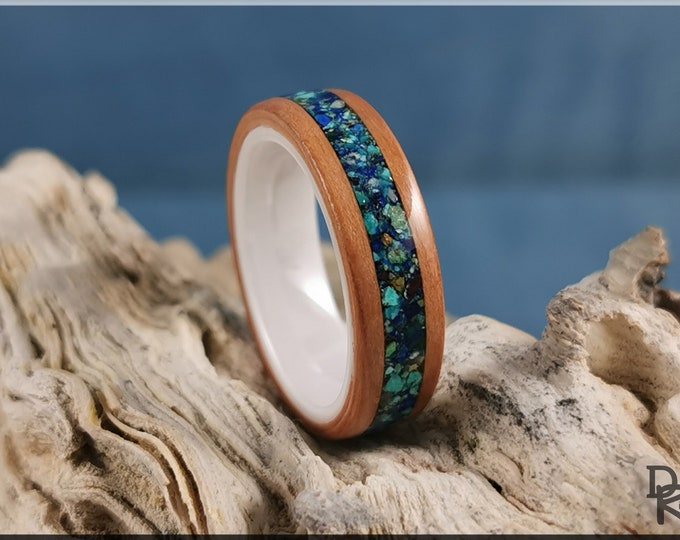 Bentwood Ring - Black Cherry w/Azurite stone inlay on polished white ceramic ring core