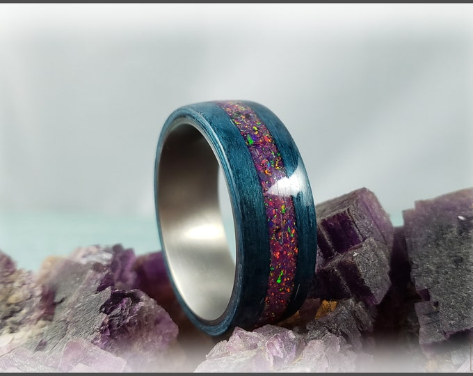 Bentwood Ring - Ripple Blue Obeche w/offset Royal Purple opal inlay on titanium core