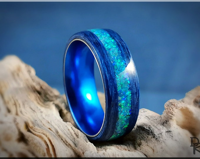 Bentwood Ring - Deep Blue Koto w/Azure Opal Glow inlay, on Cobalt Flash anodized ring core