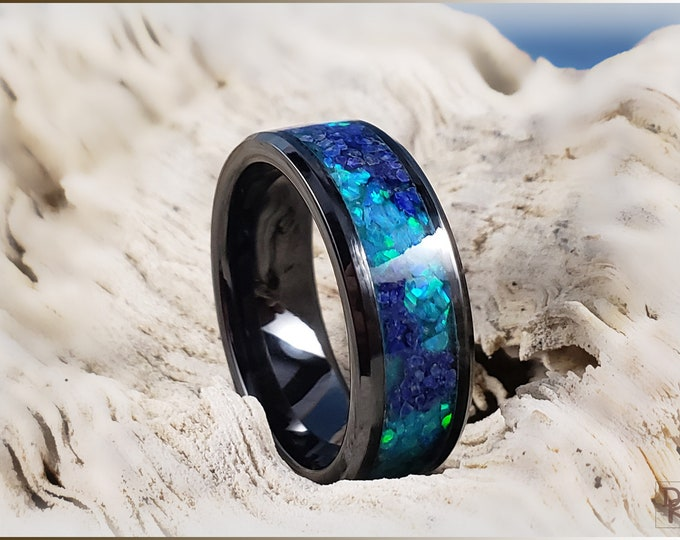 Black Ceramic 8mm Channel Ring w/Lapis Lazuli and Opal Glow inlay