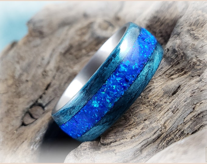 Bentwood Ring - Ripple Blue Obeche w/Sleepy Blue Opal inlay, on titanium core