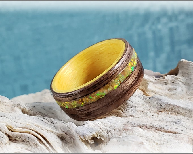 Dual Bentwood Ring - Black Walnut w/Olive Gold Opal inlay, on bentwood Sunflower Koto ring core