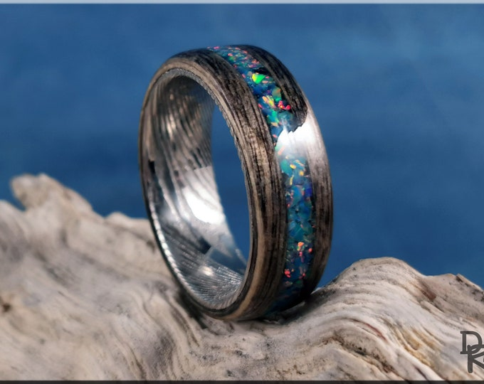 Bentwood Ring - Harborica w/Multi Teal Opal inlay, on Damascus Steel ring core - Wood Ring
