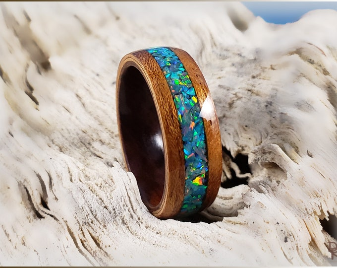 Bentwood Ring - Figured Etimoe w/House Blend Opal inlay, on Ironwood ring core
