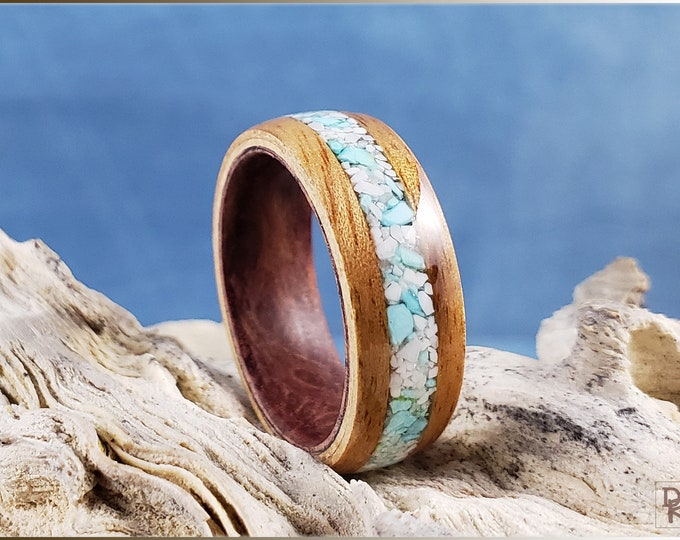 Dual Bentwood Ring - Figured Camphor w/Howlite stone and Sleeping Beauty Turquoise inlay, on Bentwood Redwood Burl ring core