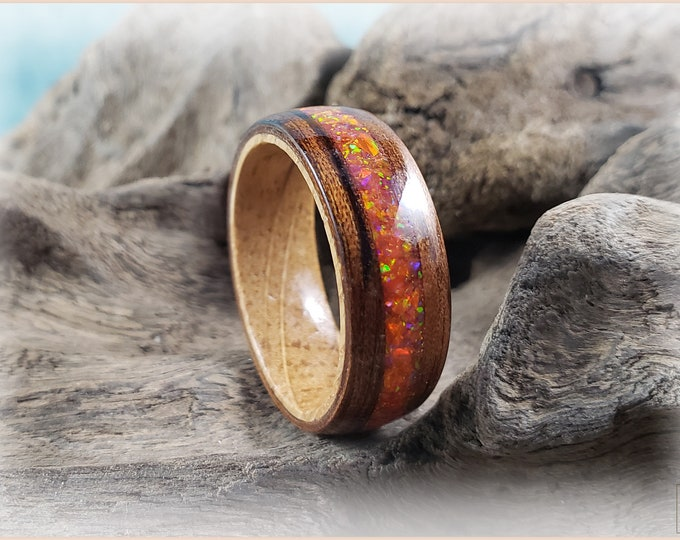Bentwood Ring - Mangowood w/Mexico Fire opal inlay, on Whisky Barrel ring core
