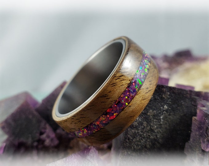 Bentwood Ring - Rustic French Walnut w/Royal Purple Opal inlay, on titanium ring core