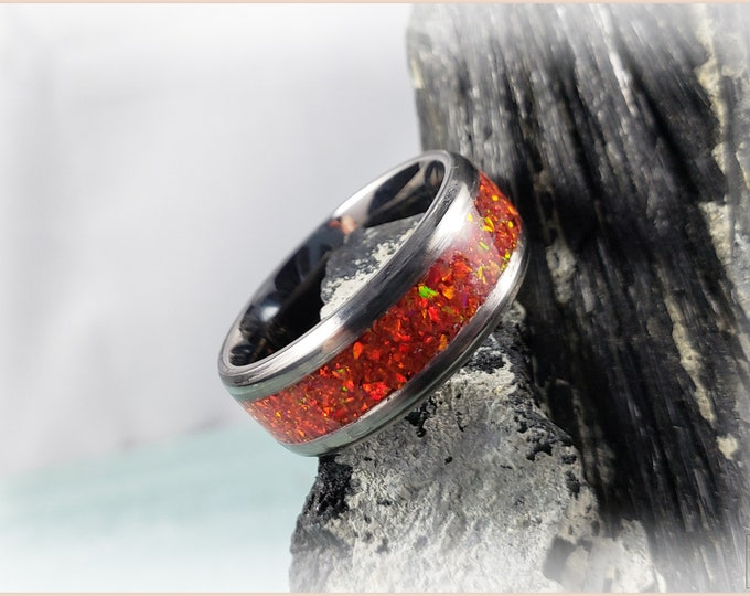 Titanium Channel Ring w/Opal inlay, 8mm