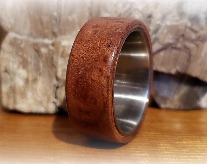 Bentwood Ring - Rare Carpathian Elm Burl - titanium ring core.