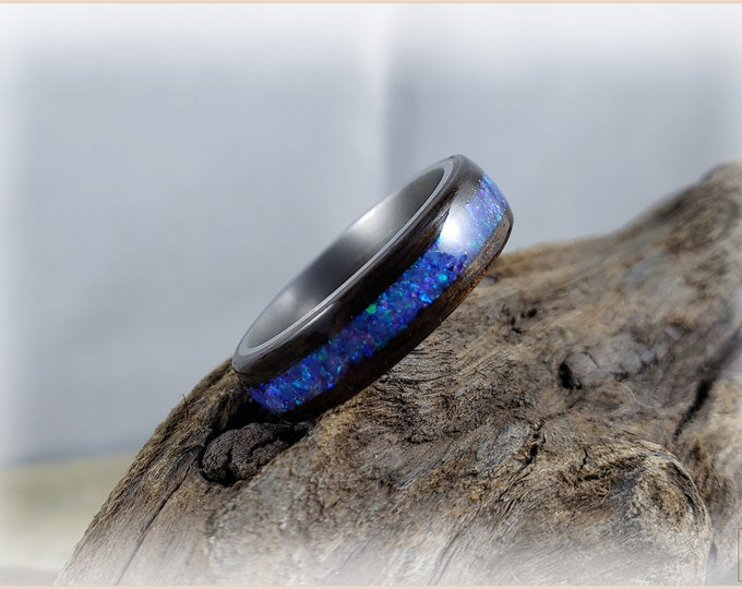 Bentwood Ring - Smoked Eucalyptus w/Lavender Opal inlay, on Titanium ring core