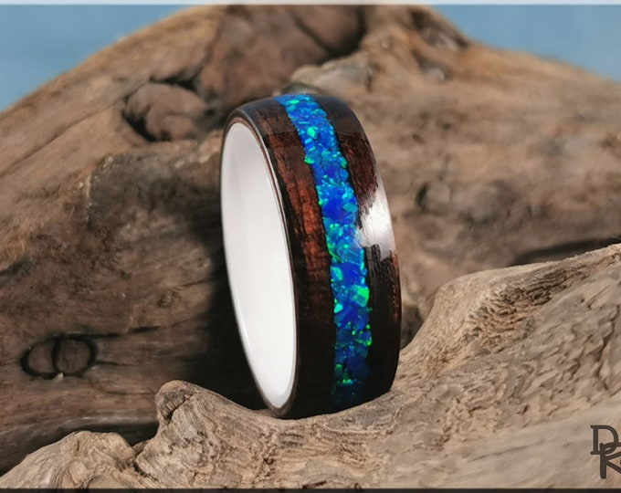 Bentwood Ring - Smoked Etimoe w/Royal Blue opal inlay, on polished White Ceramic ring core - Wood Ring