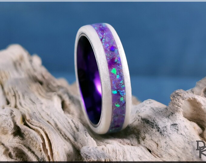 Bentwood Ring - Snow White Sycamore w/Multi Violet Opal inlay, on Violet Rain anodized ring core