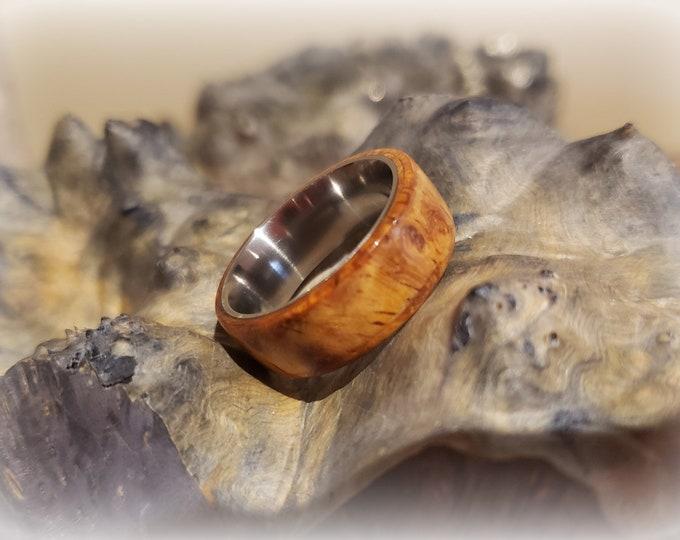 Bentwood Ring - Amboyna Burl - on titanium ring core