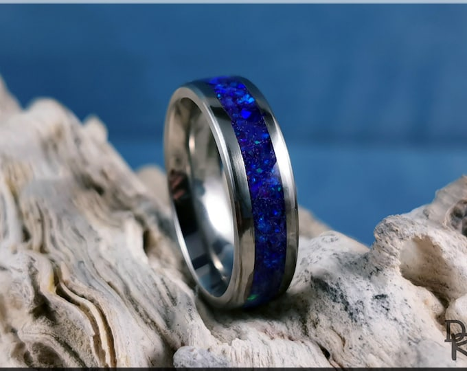 Titanium 6mm Channel Ring w/Opal inlay