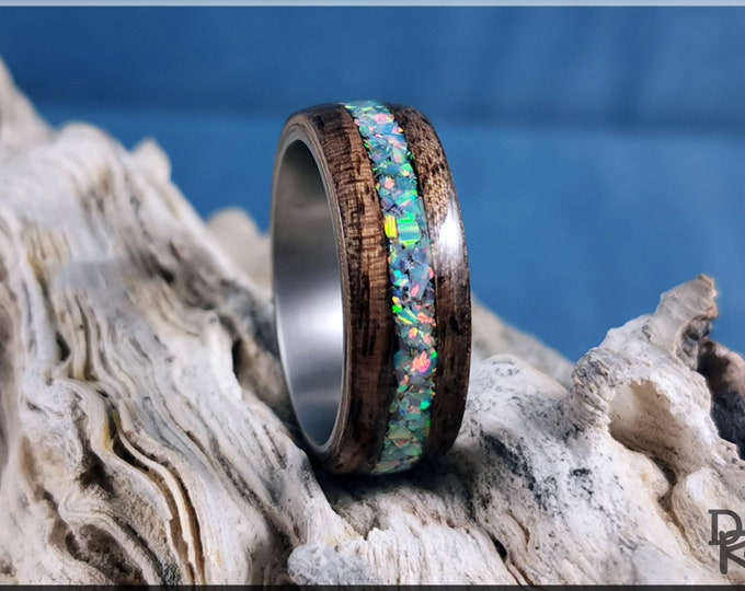 Bentwood Ring - French Walnut w/Cornflower Blue opal inlay on Titanium ring core