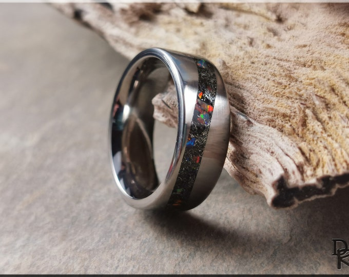 Titanium Wave 8mm Channel Ring w/Meteorite and Multi-Opal and Glow inlay - metal glow ring