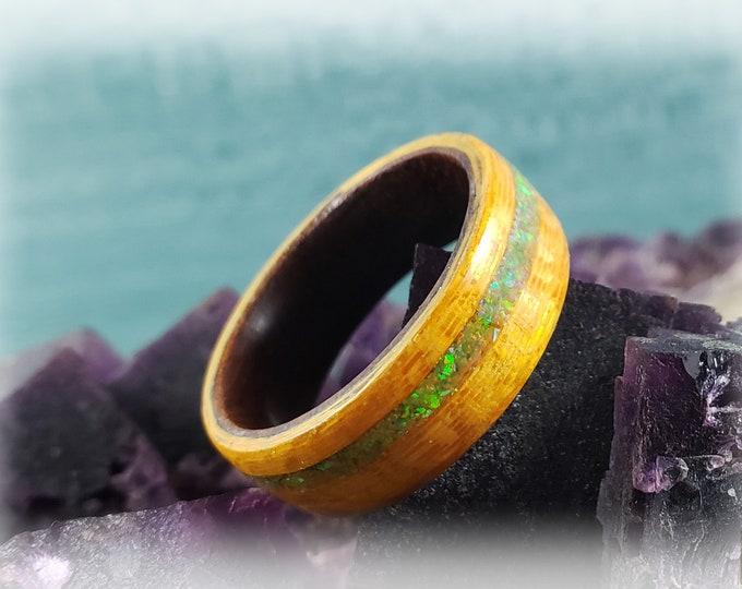 Bentwood Ring - Sun Gold Koto w/offset Citrine opal inlay, on Rosewood ring core