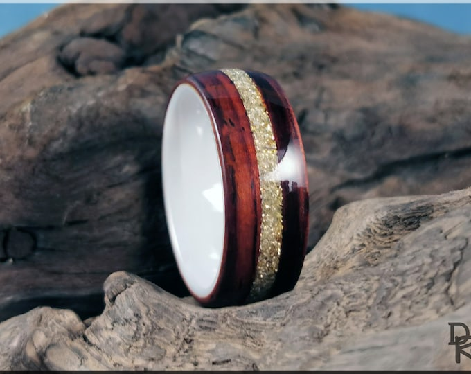 Bentwood Ring - Cocobolo w/Silver Glass inlay, on Polished White Ceramic ring core - Wood Ring