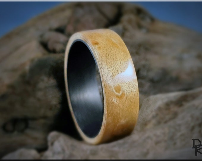 Bentwood Ring - Birdseye Maple on Carbon Fiber ring core - Wood Ring