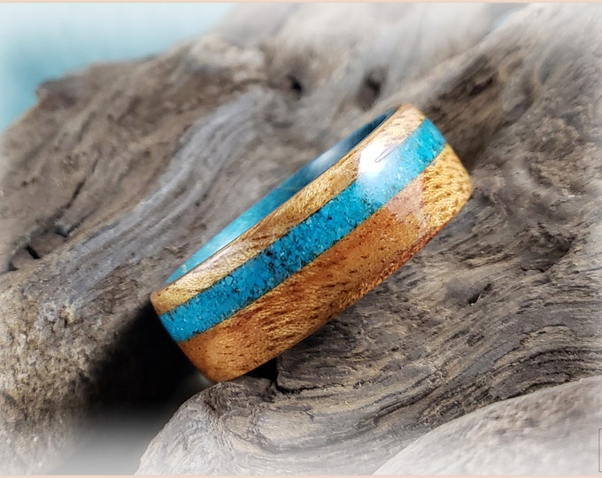 Bentwood Ring - Figured Camphor w/rare Bisbee Turquoise inlay on Teal Blue Box Elder core