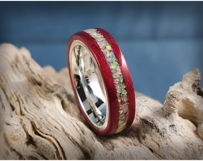 Bentwood Ring - Cabernet Tulipwood w/Fire and Snow opal inlay, on premium .925 Sterling Silver ring core