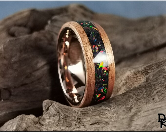 Bentwood Ring - Okoume w/Space Fire opal inlay, on Polished Rose Gold plated Tungsten Carbide inner core