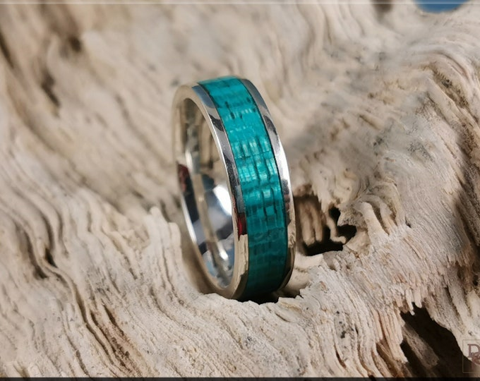 Bentwood Ring - Ocean Blue Koto inlay on 6mm premium .925 Sterling Silver ring core