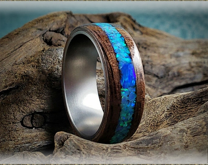 Bentwood Ring - Curly Black Walnut w/Azure and Pacific Blue opal chunk inlay, on titanium ring core