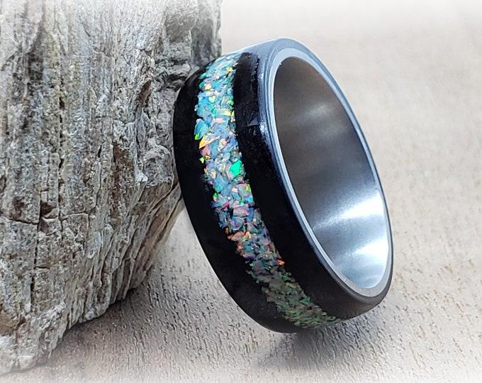 Bentwood Ring - Smoked Eucalyptus w/White Fire opal inlay, titanium ring core.