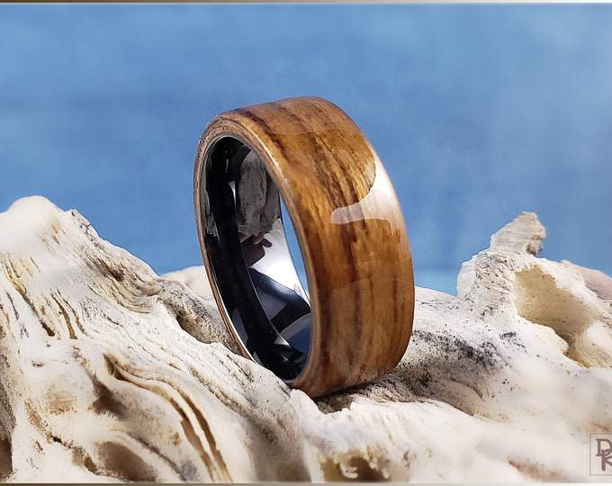 Bentwood Ring - Striped Teak on polished black ceramic ring core