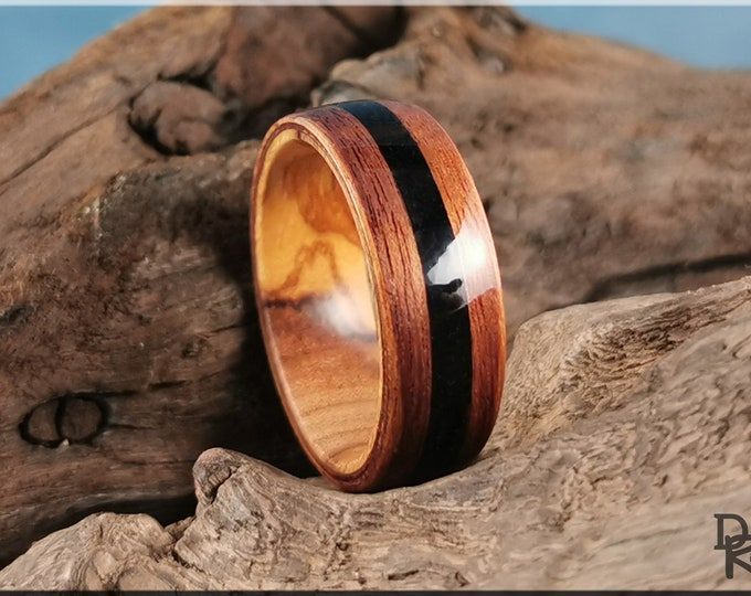 Bentwood Ring - Curapay w/Black Tourmaline stone inlay, on Olivewood ring core - Wood Ring